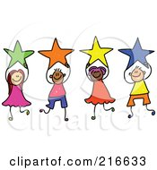 Royalty Free RF Clipart Illustration Of A Childs Sketch Of A Group Of Kids Holding Stars 1