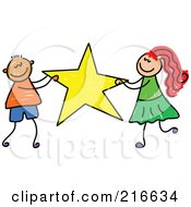 Royalty Free RF Clipart Illustration Of A Childs Sketch Of A Boy And Girl Carrying A Star
