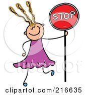 Royalty Free RF Clipart Illustration Of A Childs Sketch Of A Girl Holding A Stop Sign