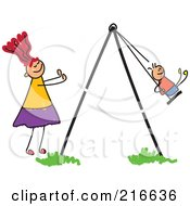 Royalty Free RF Clipart Illustration Of A Childs Sketch Of A Mom Pushing Her Son On A Swing