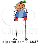 Royalty Free RF Clipart Illustration Of A Childs Sketch Of A Boy With Long Legs