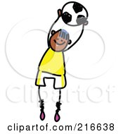 Royalty Free RF Clipart Illustration Of A Childs Sketch Of A Soccer Boy 1