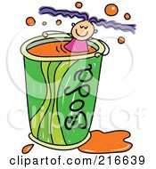 Royalty Free RF Clipart Illustration Of A Childs Sketch Of A Girl Swimming In A Soda Cup