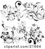 Clipart Picture Illustration Of A Collection Of Black And White Trees And Elegant Vined Flowers Over White