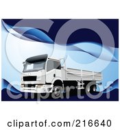 Royalty Free RF Clipart Illustration Of A Truck Driving On A Blue Wave Background
