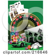 Royalty Free RF Clipart Illustration Of A Green Sports Car With Casino Items On Green by leonid