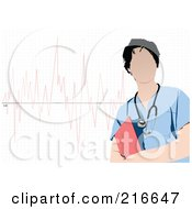 Royalty Free RF Clipart Illustration Of A Faceless Doctor In Blue Scrubs Standing Over A Graph
