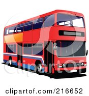 Royalty Free RF Clipart Illustration Of A Red Double Decker Bus With White And Blue Stripes by leonid