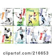 Royalty Free RF Clipart Illustration Of A Digital Collage Of Tennis Player Backgrounds by leonid