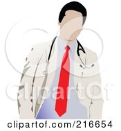 Royalty Free RF Clipart Illustration Of A Faceless Doctor In A Red Tie And White Coat by leonid