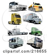 Royalty Free RF Clipart Illustration Of A Digital Collage Of Eight Big Rig Trucks