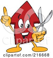 Royalty Free RF Clipart Illustration Of A Red Up Arrow Character Mascot Holding Scissors by Toons4Biz