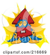 Royalty Free RF Clipart Illustration Of A Red Up Arrow Character Mascot Super Hero by Toons4Biz