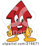 Royalty Free RF Clipart Illustration Of A Red Up Arrow Character Mascot Pointing Outwards by Toons4Biz