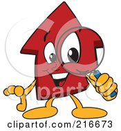 Royalty Free RF Clipart Illustration Of A Red Up Arrow Character Mascot Using A Magnifying Glass by Toons4Biz