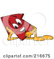 Royalty Free RF Clipart Illustration Of A Red Up Arrow Character Mascot Reclined by Toons4Biz