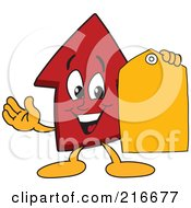Red Up Arrow Character Mascot Holding A Yellow Tag