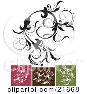 Clipart Picture Illustration Of An Intricate Vine With Beautiful Leaves And Flowers In Black And White With Pink Brown And Green Versions