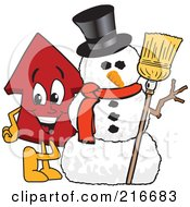 Royalty Free RF Clipart Illustration Of A Red Up Arrow Character Mascot By A Snowman by Toons4Biz