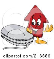 Royalty Free RF Clipart Illustration Of A Red Up Arrow Character Mascot By A Computer Mouse by Toons4Biz