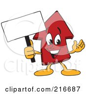 Royalty Free RF Clipart Illustration Of A Red Up Arrow Character Mascot Holding A Small Blank Sign by Toons4Biz