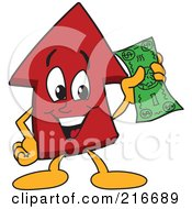 Royalty Free RF Clipart Illustration Of A Red Up Arrow Character Mascot Holding Cash by Toons4Biz