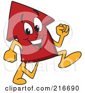 Royalty Free RF Clipart Illustration Of A Red Up Arrow Character Mascot Running by Toons4Biz