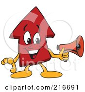 Royalty Free RF Clipart Illustration Of A Red Up Arrow Character Mascot Holding A Megaphone