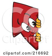 Royalty Free RF Clipart Illustration Of A Red Up Arrow Character Mascot Looking Around A Blank Sign Board by Toons4Biz