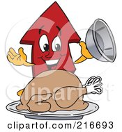Royalty Free RF Clipart Illustration Of A Red Up Arrow Character Mascot Serving A Thanksgiving Turkey by Toons4Biz