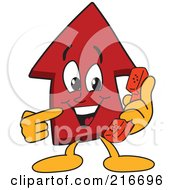 Royalty Free RF Clipart Illustration Of A Red Up Arrow Character Mascot Using A Phone by Toons4Biz