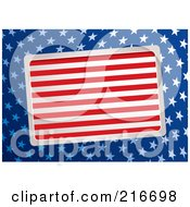 Royalty Free RF Clipart Illustration Of A Slanted Plaque Of Red And White Stripes Over Blue With White American Stars by michaeltravers