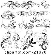 Clipart Picture Illustration Of A Collection Of Elegant Flourishes With Scrolling Vines In Black And White
