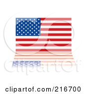 Royalty Free RF Clipart Illustration Of An American Flag With Its Stars And Stripes Reflecting by michaeltravers