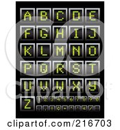 Royalty Free RF Clipart Illustration Of A Digital Collage Of Green Digital Board Letters Numbers And Symbols by michaeltravers