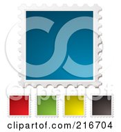 Royalty Free RF Clipart Illustration Of A Digital Collage Of Blank Colorful Postal Stamps With White Edges by michaeltravers