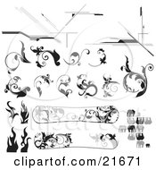 Clipart Picture Illustration Of A Collection Of Black And White Floral Accents Vines Elephants And Snowboards