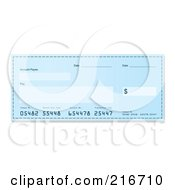 Royalty Free RF Clipart Illustration Of A Blank Blue Bank Check by michaeltravers