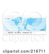 Royalty Free RF Clipart Illustration Of A Blank Blue Atlas Bank Check by michaeltravers