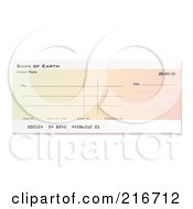 Royalty Free RF Clipart Illustration Of A Blank Gradient Bank Check by michaeltravers