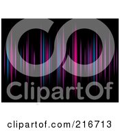 Royalty Free RF Clipart Illustration Of A Background Of Purple Blue And Pink Equalizer Lines On Black by michaeltravers