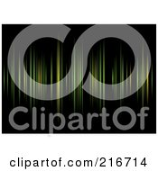 Royalty Free RF Clipart Illustration Of A Background Of Green And Yellow Equalizer Lines On Black by michaeltravers