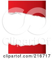 Royalty Free RF Clipart Illustration Of Two Pieces Of Ripped Red Paper With White Space