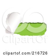 Royalty Free RF Clipart Illustration Of A Rip Of White Paper On Green by michaeltravers