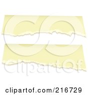 Royalty Free RF Clipart Illustration Of Two Pieces Of Torn Antique Paper On White by michaeltravers