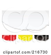 Royalty Free RF Clipart Illustration Of A Digital Collage Of Torn Colorful Pieces Of Paper On White by michaeltravers