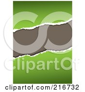 Royalty Free RF Clipart Illustration Of A Torn Green Paper Revealing Gray by michaeltravers