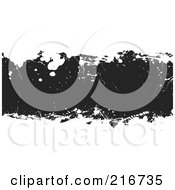Royalty Free RF Clipart Illustration Of A Grungy Black Ink Splatter Banner On White by michaeltravers