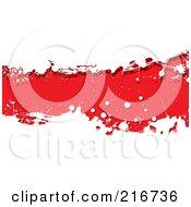 Grungy Red Ink Splatter Banner On White
