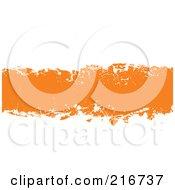 Grungy Orange Ink Splatter Banner On White